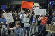 A protest at the Arrivals Hall of San Francisco's International Airport (CNS photo/Peter Dasilva, EPA)