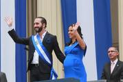 President Nayib Bukele and his wife Gabriela at the inaugural in Plaza Barrios in San Salvador, El Salvador, June 1, 2019. Official twitter account