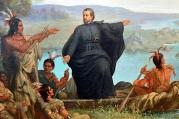 Painting of Father Jacques Marquette preaching to Native Americans by Wilhelm Lamprecht