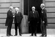 Woodrow Wilson, right, sought to implement his famous Fourteen Points at the Paris Peace Conference of 1919. The French Prime Minister Georges Clemenceau, second from right, viewed them as hopelessly idealistic. (Photo: Alamy)