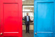 Housing and Urban Development Secretary Ben Carson inspects the federal department's Fair Housing Door Exhibit marking the 50th anniversary of the Fair Housing Act. (U.S. Dept. of Housing and Urban Development, via Wikimedia Commons)
