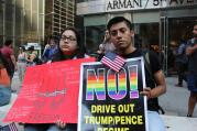 Dreamers protest the announcement of DACA's ending outside of Trump Tower in New York City on Sept. 5. (America Media photo/Antonio De Loera-Brust)