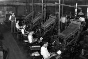 Linotype operators of The Chicago Defender. Photo by Russell Lee. Source: US Library of Congress.