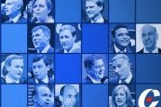 The 14 candidates for leader of the Conservative Party of Canada are featured on the party's website, with Kellie Leitch in the middle of the first row and Kevin O'Leary at the end of the second row.