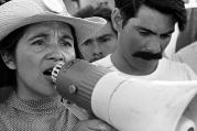 "Dolores Huerta rallies striking farmworkers and supporters during the California grape boycott. (Courtesy of ""Dolores: the movie"")"