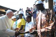 PORT OF CALL. Pope Francis greets immigrants  in Lampedusa, Italy, July 8, 2013.
