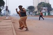 Running from gunfire in Bangui, Central African Republic