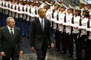 WALKING INTO HISTORY. Cuban President Raul Castro and U.S. President Barack Obama review Cuban soldiers during a welcome ceremony for Obama at the Palace of the Revolution in Havana, March 21 (CNS photo/Jonathan Ernst, Reuters).
