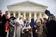 CATHOLIC APPEAL. Actors dressed for a Nativity scene are pictured during a prayer gathering in front of the Supreme Court in Washington, D.C., on Dec. 3, 2013.