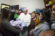 Pope Francis at a home in the Varginha slum in Rio de Janeiro on July 25.