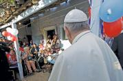 HOUSE CALL. Pope Francis visits the Bañado Norte neighborhood, a slum in Asuncion, Paraguay, July 12, 2015.