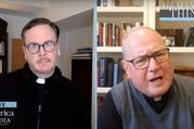 America Editor-in-Chief Matthew Malone, S.J., speaks with New York Cardinal Timothy Dolan on Facebook live on May 1. Screen capture by America Media.
