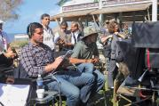 "CORPORAL WORK. The actor and producer Eduardo Verastegui prepares for a scene in his new film, ""Little Boy."""