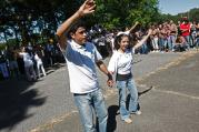 Young Hispanics perform during Encuantro celebration, Oct. 2008 \