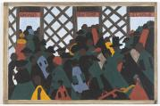 "Panel 1: ""During the World War there was a great migration North by Southern Negroes,"" by Jacob Lawrence."