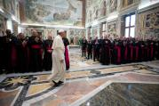 Pope Francis arrives for meeting with Catholic communicators during audience at Vatican