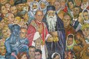 Mosaic showing Pope Paul VI and Patriarch Athenagoras I in Jerusalem.