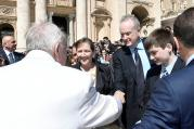 Fox News Channel host Bill O'Reilly, right, shakes hands with Pope Francis during the Wednesday general audience in St. Peter's Square at the Vatican, on April 19, 2017. Photo courtesy of Osservatore Romano/Handout via Reuters