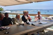 German director Wim Wenders, center, speaks during a panel discussion on May 25, 2017, in Cannes, France. RNS photo by A.J. Goldmann