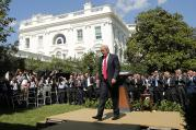 President Donald Trump departs after announcing his decision that the United States will withdraw from the landmark Paris Climate Agreement, in the Rose Garden of the White House in Washington, D.C., on June 1, 2017. Photo courtesy of Reuters/Kevin Lamarque