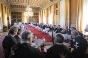Knights of the Order of Malta gather in a villa in Rome on April 29, 2017, to elect an interim leader to carry out reforms of the ancient chivalric order following a bitter internal clash that promoted the intervention of Pope Francis. (Photo courtesy of the Order of Malta/Remo Casilli)