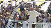 Pope Francis arrives to celebrate Mass at O'Higgins Park in Santiago, Chile, Jan. 16. (CNS photo/Paul Haring)