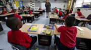 A Catholic school classroom in Phoenix, Ariz., gets down to work. (CNS photo/Nancy Wiechec)