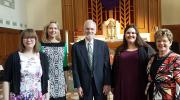 Edward Lally (center) is joined by his schola, Sarah Coffman, Katherine Keberlein, Ngaire Bull and Sarah Beatty, at St. Edward's Catholic Church in Chicago on April 8, 2017. Photo courtesy of Sarah Beatty.