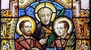Sts. Jean de Lalande, Isaac Jogues and Rene Goupil, who were among the 17th-century French Jesuit missionaries martyred in North America, are depicted in a stained-glass window at the Cathedral-Basilica of Notre-Dame of Quebec in Quebec City. (CNS photo/Gregory A. Shemitz)