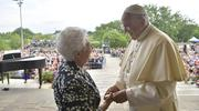 Pope Francis greets a woman in Loppiano, Italy, May 10. (CNS photo/Vatican Media)