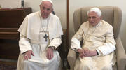 Pope Francis meets with retired Pope Benedict XVI at the Vatican April 15, 2019.