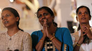 Family members of victims react while praying during the reopening ceremony of St. Anthony's Shrine in Colombo, Sri Lanka, June 12, 2019, months after it was closed because of an Easter bombing. (CNS photo/Dinuka Liyanawatte, Reuters)