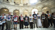 "Catholic leaders and advocates protest the Trump administration's handling of detained immigrant children during a ""Day of Action"" on July 18 in the Russell Senate Office Building in Washington, D.C. (CNS photo/Tyler Orsburn)"