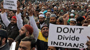 Demonstrators in Delhi, India, protest a new citizenship law on Dec. 27, 2019. Opponents say new law targets Muslim refugees, unlike people of other faiths. (CNS photo/Anushree Fadnavis, Reuters)