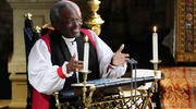 The Most Rev Bishop Michael Curry, primate of the Episcopal Church, speaks during the wedding ceremony of Prince Harry and Meghan Markle at St. George's Chapel in Windsor Castle in Windsor, near London, England, Saturday, May 19, 2018. (Owen Humphreys/pool photo via AP)