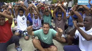 Asylum seekers protesting the possible closure of their detention center, on Manus Island, Paua New Guinea, on Tuesday, Oct. 31, 2017. (Australia Broadcasting Coroporation via AP)