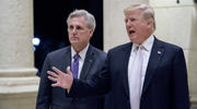 In this Jan. 14, 2018 photo, President Donald Trump, right, accompanied by House Majority Leader Kevin McCarthy, R-Calif., speaks to members of the media as they arrive for a dinner at Trump International Golf Club in West Palm Beach, Fla. Reinforcing its standing with social conservatives, the Trump administration creates a federal office to protect medical providers who refuse to participate in abortion, assisted suicide or other procedures because of their moral or religious beliefs. (AP Photo/Andrew Har