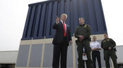 President Donald Trump reviews border wall prototypes on March 13 in San Diego. (AP Photo/Evan Vucci)