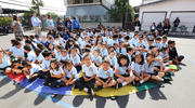 "Students at Our Lady of Loretto school in Los Angeles during an ""Aid for Ecuador"" April 21, 2016 event organized by the Los Angeles Missionary Childhood Association. Photography by Victor Alemán"
