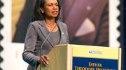 Condoleezza Rice addresses a Sept. 1 ceremony at the University of Notre Dame where a new postage stamp honoring Father Theodore Hesburgh was issued (CNS photo/courtesy Barbara Johnston, University of Notre Dame).