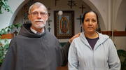 Father Tom Smith, OFM Conv., welcomed Lorena Rivera, an undocumented immigrant, to the Holy Retreat Center in Las Cruces, New Mexico. (J.D. Long-Garcia)