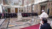 Pope Francis meets with energy executives in Rome. Photo courtesy of Vatican Media.