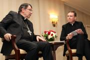 Archbishop Christophe Pierre, apostolic nuncio to the United States, responds to a question from Jesuit Father Matt Malone, president and editor-in-chief of America Media, during a discussion March 15 in New York City on the first four years of Pope Francis' papacy. (CNS photo/Gregory A. Shemitz)