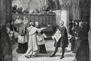 Engraving from 1894 showing Galileo Galilei at the Inquisition in 1633 (iStock)