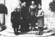 Archbishop Eugenio Pacelli, center, representing Pope Benedict XV, at the imperial Headquarters in 1917.
