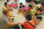 The author reviews vocabulary with students in Kinmen, Taiwan