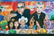 SERVANT-LEADERS. A mural of Óscar Romero and Rutilio Grande, S.J., in El Paisnal, El Salvador