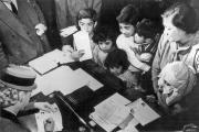 GROUNDWORK. The Eva Perón Foundation (Eva Perón at lower left) provided assistance to children from impoverished backgrounds.