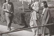 WORKSHOP DAYS. Robie Macauley, Arthur Koestler and Flannery O'Connor at Amana Colonies in Iowa, Oct 9, 1947.