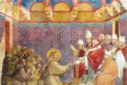 BLESSED ARE THE POOR. Pope Innocent III blessing St. Francis and his followers in Rome, 1209-1210.